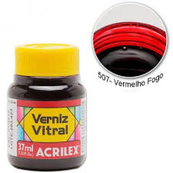 VERNIZ VITRAL ACRILEX 37 ML 507-VERM. FOGO