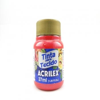 TINTA TECIDO METALICA ACRILEX 37 ML 555 VERMELHO